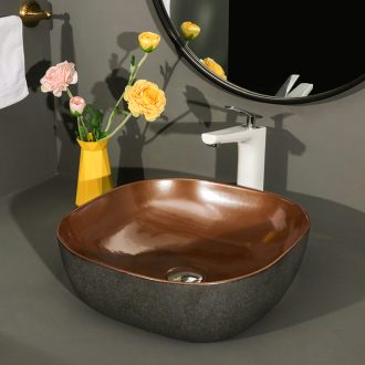 Northern wind square stage basin ceramic lavatory basin bathroom art American water basin sink