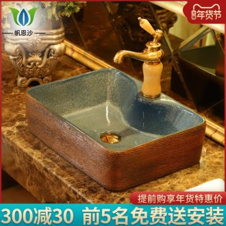 Square table basin of continental basin of jingdezhen ceramic household for wash gargle art lavatory toilet lavabo