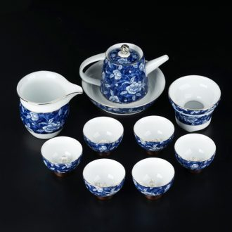 JiaXin silver kung fu tea set of blue and white porcelain household contracted in Chinese ceramic tea cups of a complete set of the teapot