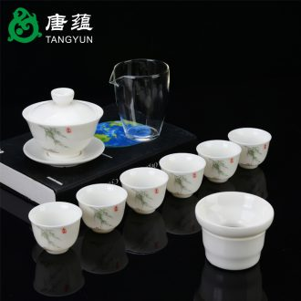 Suet jade white porcelain ceramic kung fu tea set home sitting room office home tea cups tureen gift boxes