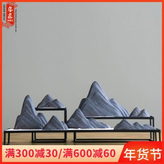 New Chinese style false hillshade furnishing articles dry landscape creative zen ceramic snow mountain soft adornment hotel example room decoration