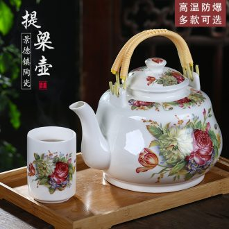 Jingdezhen ceramic teapot single pot of domestic large teapot old girder of blue and white porcelain pot of tea set high temperature to hold