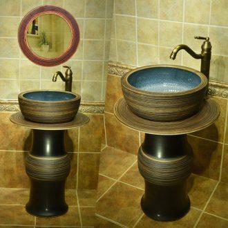 Ceramic lavatory basin bathroom column vertical integrated sink pillar type is suing balcony sink