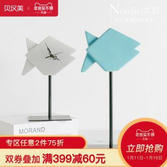 Sea wind clock contracted geometric fish furnishing articles between sitting room TV cabinet example Nordic soft adornment, ceramic decoration