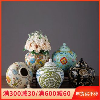 Jingdezhen ceramic storage tank household soft adornment with cover large receive a jar of new Chinese style originality vase furnishing articles