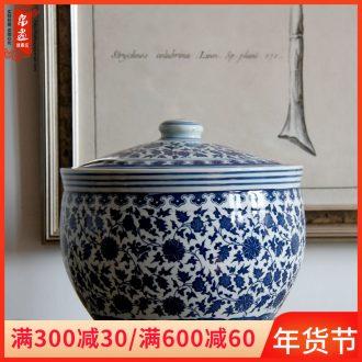 Jingdezhen ceramic furnishing articles barrel of blue and white porcelain tea pot home sitting room it storage tank floor desktop decoration