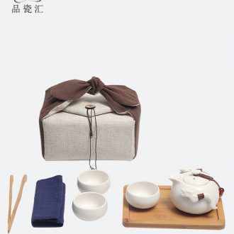 Kung fu tea sets a pot of three cups of crop package ceramic portable travel tea set a pot of three cups of dry tea tray