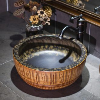 European stage basin round sink basin to restore ancient ways ceramic art basin to wash face basin bathroom sinks