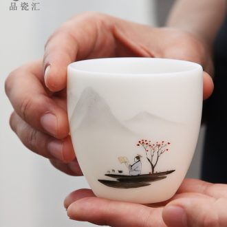 White porcelain cup host fullness cup pure checking ceramic cups a single lettering custom logo hand - made kung fu tea set