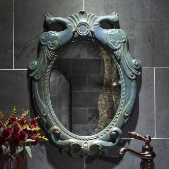 Chinese style antique mirror hanging in the bathroom mirror bathroom toilet bathroom mirror bathroom cosmetic mirror high temperature ceramic picture frame