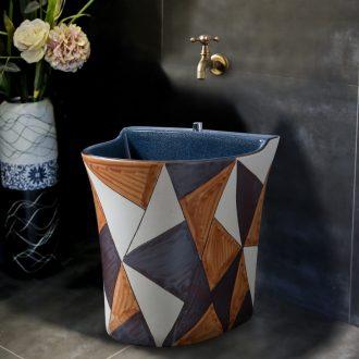 Ling yu color brick grain balcony ceramic art mop pool to wash the mop pool home bathroom floor mop pool