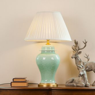 New Chinese style of jingdezhen hand - carved ceramic desk lamp large sitting room decoration to the hotel villa clubhouse of bedroom the head of a bed