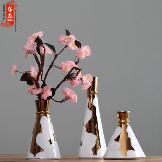 Jingdezhen ceramic flowers dried flower vase water raise retro made flowers in American country sitting room adornment is placed