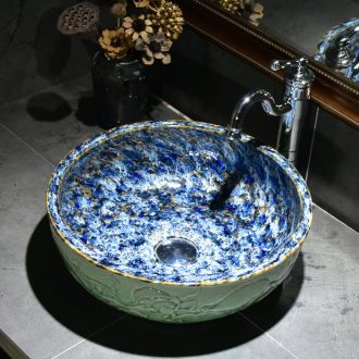 Ceramic toilet lavatory basin bathroom art stage basin carved deep green lotus lavabo household