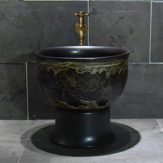 Jingdezhen ceramic sketch peony mop pool home antique art restoring ancient ways is the balcony toilet easy mop pool