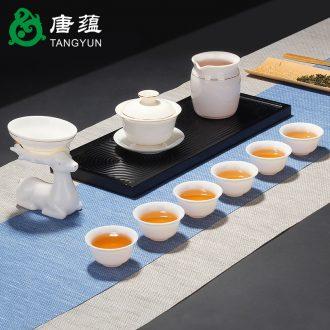 Suet jade porcelain kung fu tea set suit white porcelain tea cups of tea of a complete set of household ceramics tureen teapot gift boxes