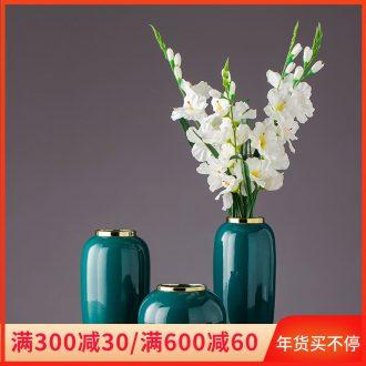 Dark green, see flower furniture of Europe type restoring ancient ways dried flower vase villa ceramic furnishing articles furnishing articles the mock up room