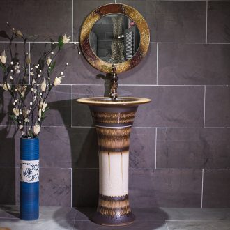 Vertical pillar lavabo ceramics landing stage basin integrated art of small family toilet commode ChiZhu basin