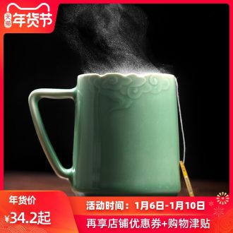 Mark cup celadon with cover ceramic cups creative cup contracted office cup tea cup move customization