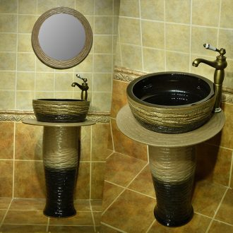Toilet pillar lavabo one - piece basin ceramic lavatory basin floor balcony sink