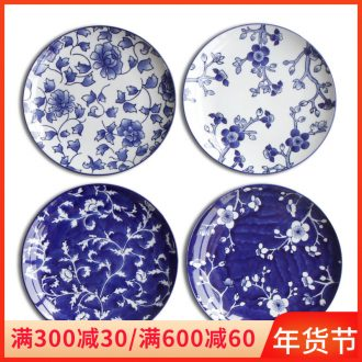 Jingdezhen blue and white porcelain ceramic plate wall act the role ofing home sitting room adornment ceramic disk circular plate