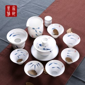 4 5 hand - made kung fu tea set ceramic white 6 person of a complete set of modern household small set of combinations