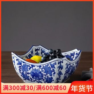 Ou compote furnishing articles of jingdezhen ceramics home sitting room to compote dried fruit snacks of blue and white porcelain plate