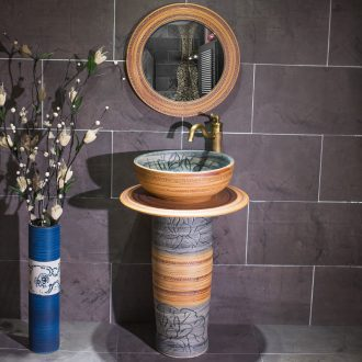 Art the sink pillar type toilet ceramic lavatory is suing floor sink basin