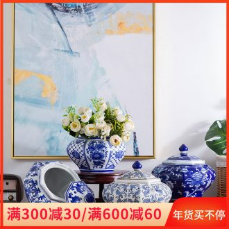 Jingdezhen ceramic porcelain jar of home decoration of Chinese style restoring ancient ways is the sitting room place vase flower arrangement home with cover storage