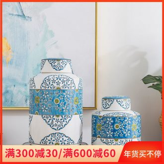 Jingdezhen ceramic furnishing articles creative household adornment handicraft decoration TV ark with cover sealed jar storage tank