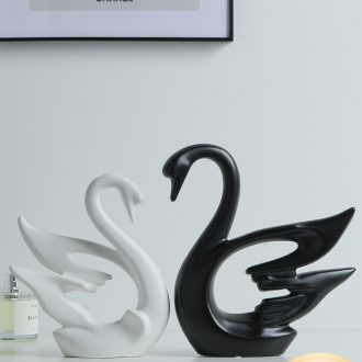 Nordic swan simple black and white couples furnishing articles wedding gifts creative new wine sitting room adornment ceramics