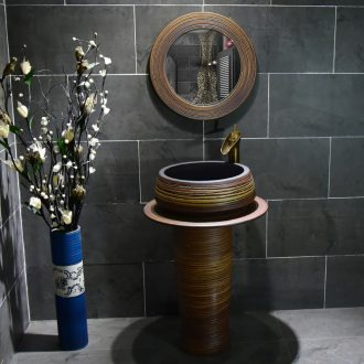 Ceramic basin of pillar type washbasin hand - carved brown circle lines columns of small family toilet floor for wash gargle