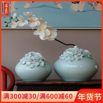 Furnishing articles jingdezhen ceramic vases, small expressions using manual shadow green home sitting room adornment creative flower arranging flower decoration