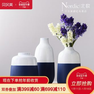 Contracted and I dried flowers flower arrangement of double color Mosaic ceramic vases, flower implement sitting room adornment Nordic household soft adornment