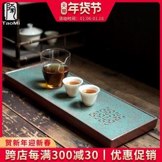 Tao fan ceramic Japanese tea tray drainage water dual - use disc household kung fu tea set simple rectangular small dry terms plate