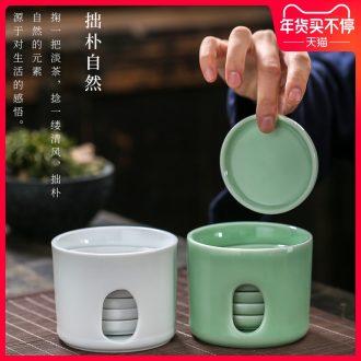 Joker 6 tablets celadon set of kung fu tea cup pad round tea saucer heat - resistant ceramic tea set tea accessories