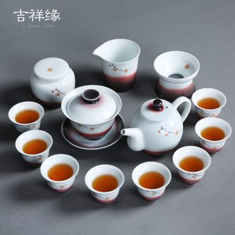 Auspicious edge color ink kung fu tea set of household ceramic white porcelain tureen ultimately responds tea tea of a complete set of tea cups