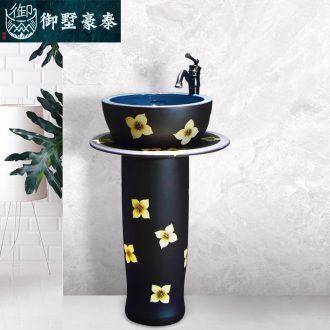 Ceramic basin of pillar type washbasin hand - carved glaze dark just pillar of small family toilet floor for wash gargle