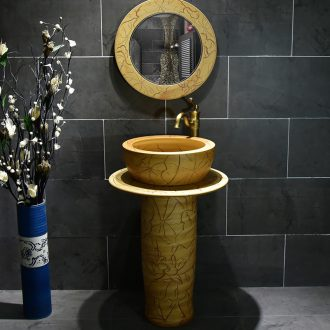 Ceramic basin of pillar type washbasin hand - carved archaize lotus leaf pillar of small family toilet floor for wash gargle