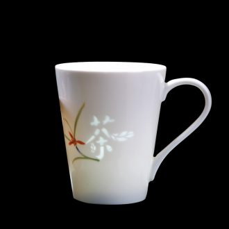 Jade cypress jingdezhen ceramic cup mark cup with cover creativity and exquisite glass of orange and exquisite porcelain cup coffee cup