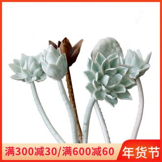 Jingdezhen ceramic fake flowers home sitting room adornment flowers celadon clay hand pinch flower arranging flower decoration process simulation