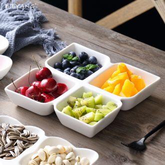 White ceramic frame plates creative fruit, dried fruit platter household square four bar snack plate