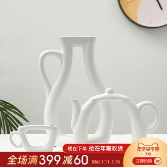 Nordic household contracted vase creative sitting room ark, study ceramic flower flower vase small pure and fresh and the teapot