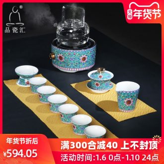 The Product jingdezhen porcelain remit enamel color TV TaoLu tea set gift suit tureen fair keller sample tea cup tea set of the filter