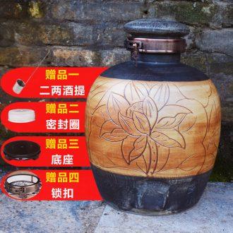 Jingdezhen ceramic jar 10 jins sealing ceramic bottle 20 jins wine pot home wine canners 50 pounds