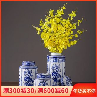 Ceramic furnishing articles creative home sitting room adornment office desktop wine ark, of blue and white porcelain decoration household storage jar