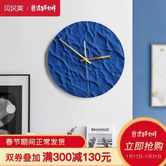 Nordic light key-2 luxury art ceramic wall clock home sitting room is contracted and creative move fashion decoration clock round the clock