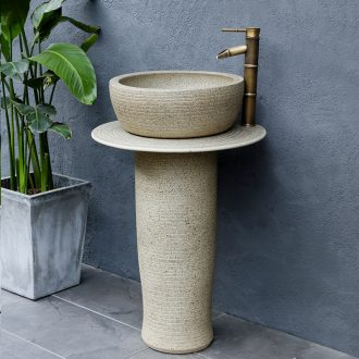 Northern wind column type lavatory is suing floor balcony sink courtyard ceramic bathroom sink