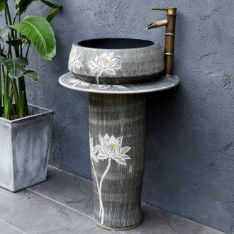 Ceramic basin of pillar type lavatory toilet balcony column is suing ground one - piece sink sink restoring ancient ways