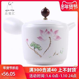 The Product up with porcelain remit zen matte enrolled white porcelain teapot side to make tea pot, ceramic tea set single pot of kung fu tea set
